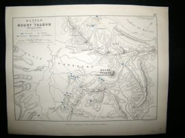 Battle of Mount Tabor, Israel: 1848 Antique Battle Plan. Johnston